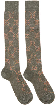Gucci Grey and Pink Lame GG Socks