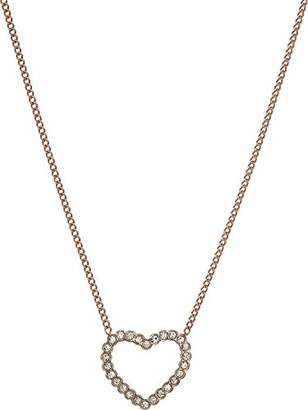 Fossil Women's Open Heart Rose Gold-Tone Stainless Steel Necklace