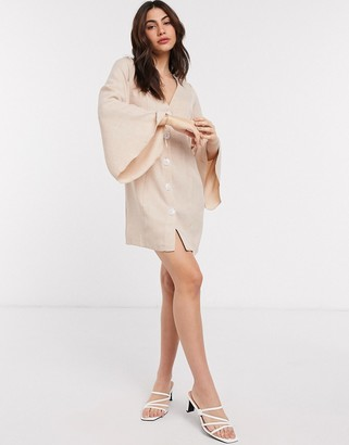 ASOS DESIGN button through linen look mini dress with fluted sleeve in stone