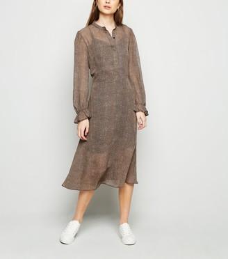 New Look Petite Leopard Chiffon Midi Shirt Dress
