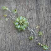 Peridot and crystal brooch pin, 'Lime Bouquet'