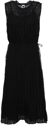 M Missoni Bow-detailed Pleated Crochet-knit Cotton-blend Dress