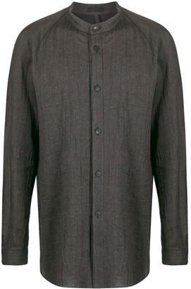 Devoa Striped Mandarin Collar Shirt