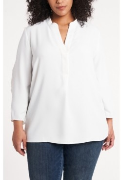 Vince Camuto Women's Plus Size Ruched Sleeve Henley
