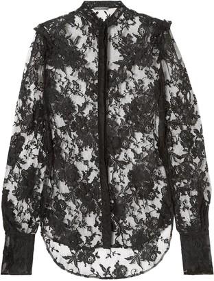 Alexander McQueen Ruffled Cotton-blend Lace Blouse