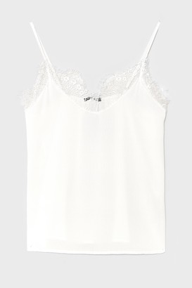 Nasty Gal Womens Lace It Up to You Plus Cami Top - White - 16