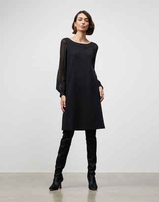 Lafayette 148 New York Petite Punto Milano Linden Dress With Sheer Combo