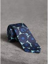 Burberry Slim Cut Abstract Floral Print Silk Tie