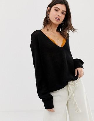 Free People Gossamer v-neck sweater in alpaca wool blend