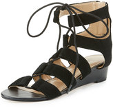 Neiman Marcus Wista Suede Lace-Up Sandal, Black