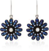 Nam Cho 18K White Gold Blue Sapphire and Diamond Earrings