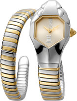 Just Cavalli 22mm Glam Chic Two-Tone Coiled Snake Bracelet Watch, Yellow Golden Multi