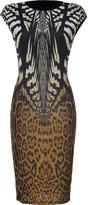 Roberto Cavalli Ecru/Ochre Brown Leopard Printed Dress