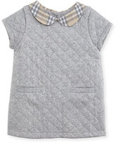 Burberry Taryn Collared Quilted Shift Dress, Gray Melange, Size 3-24 Months