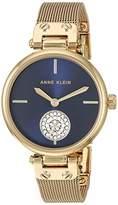 Anne Klein Women's Swarovski Crystal Accented Gold-Tone Mesh Bracelet Watch