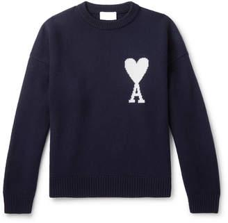 Ami Logo-Intarsia Merino Wool Sweater