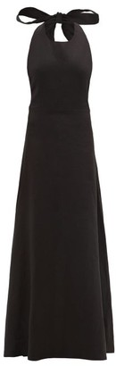 ALBUS LUMEN Lima Neck-tie Linen Maxi Dress - Black