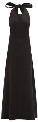 ALBUS LUMEN Lima Neck-tie Linen Maxi Dress - Womens - Black