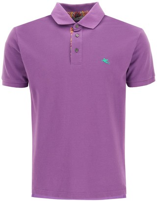 Etro POLO SHIRT WITH PEGASO EMBROIDERY L Purple, Green Cotton