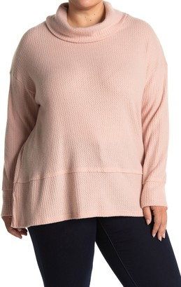ALL IN FAVOR Brushed Waffle Cowl Neck Sweater (Plus Size)