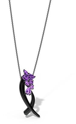 Natori Sumi Stroke Midnight Silver Cascading Amethyst Ombre Slider Pendant Necklace