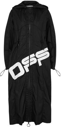 Off-White Black logo-print shell coat