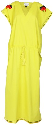 Maraina London Margaux Yellow Drawstring Maxi Kaftan Dress With With Handmade Embroidery