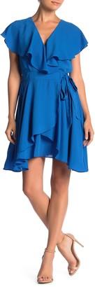 Ruffled Faux Wrap Mini Dress