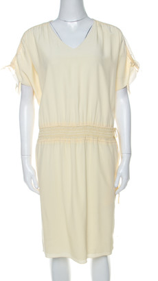 Chloé Vanilla Yellow Smocked Waist Lace Insert Tie Detail Dress S