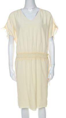 Chloé Vanilla Yellow Smocked Waist Lace Insert Tie Detail Dress S