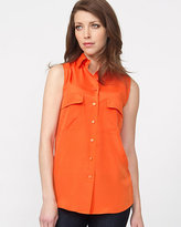 Le Château Silk Hand Sleeveless Button-Front Blouse