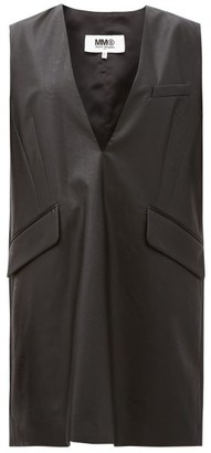 MM6 MAISON MARGIELA Leather-effect V-neck Dress - Black