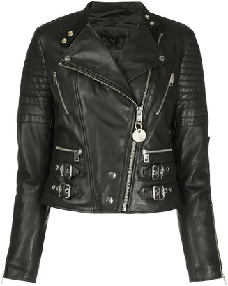 Diesel Quilted Buckled Strap Biker Jacket
