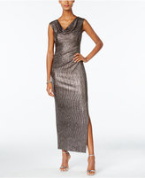 Connected Petite Metallic Draped Slit Gown