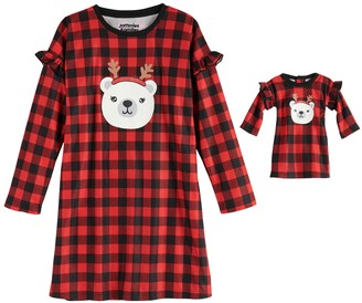 Cuddl Duds Girls 4-16 Jammies For Your Families Cool Bear Nightgown & Matching Doll Gown