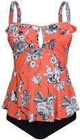 PZZ BEACH PZZ Retro Floral Flouncing Plus Size Bathing Suits Two Piece Peplum Swimsuits