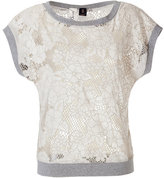 Bird by Juicy Couture Wheat/Grey Floral Cut-Out Crochet Top