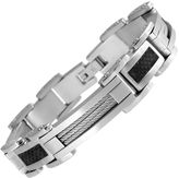 JCPenney JCP Stainless Steel & Black Carbon Fiber Mens Bracelet