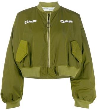 Off-White Varsity cropped bomber jacket