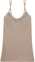 Hanro Millie Lace-trimmed Ribbed Jersey Camisole - Mushroom