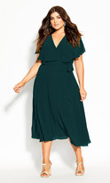 City Chic Softly Tied Dress - forest