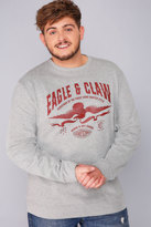 Yours Clothing BadRhino Grey Marl Eagle & Claw Heavyweight Printed Vintage Sweatshirt