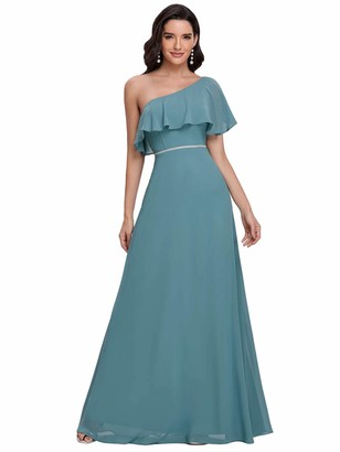 Ever Pretty Ever-Pretty Women's Ruffles One Shoulder Empire Waist A Line Chiffon Floor Length Evening Party Dresses Dusty Blue 16UK
