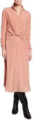 Halston Maeve Twist-Front Silk Shirtdress
