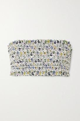 Tory Burch Costa Shirred Floral-print Bandeau Bikini Top - Blue