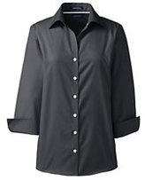 Lands' End Women's Petite 3/4 Sleeve No Iron Broadcloth Shirt-Soapstone