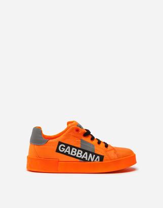 Dolce & Gabbana Portofino Custom Sneakers In Nylon With Logo Tape