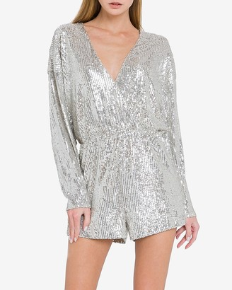 Express Endless Rose Deep V-Neck Sequin Romper