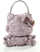Anteprima Pink Woven Ribbon Jeweled Hello Kitty Shaped Wire Bag Tote Handbag
