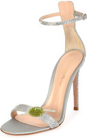 Gianvito Rossi Strass Olive Ankle-Wrap 105mm Sandal, Silver